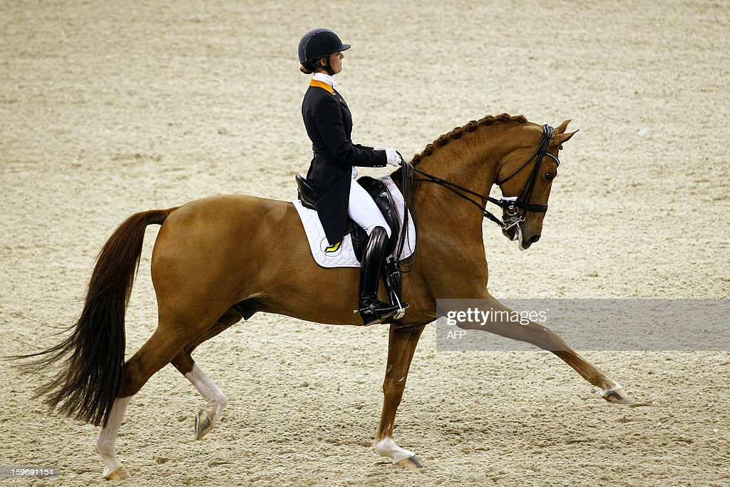 Equestrian Adelinde Cornelissen from The Netherlands with Jerich Parzival compete during the World Cup dressage at the Jumping Amsterdam, on January 18, 2013 in Amsterdam. AFP PHOTO/ANP/ BAS CZERWINSKI netherlands out