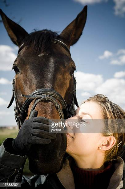Equestrian autumn portrait (girl and horse)