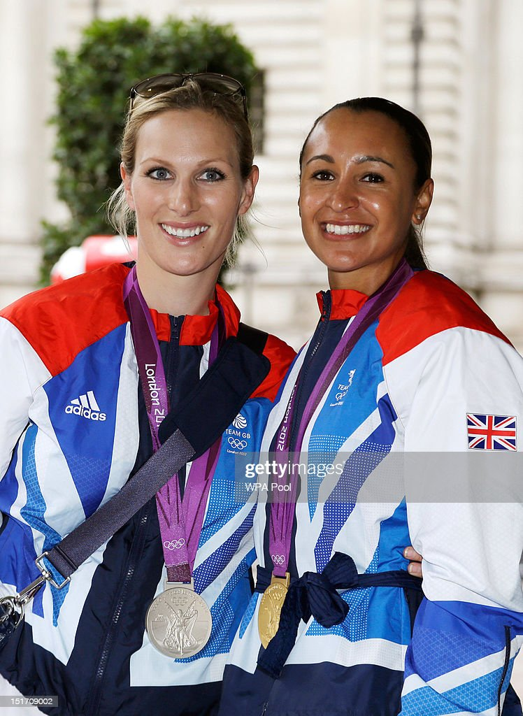 Equestrian Eventing Team silver medallist <a gi-track='captionPersonalityLinkClicked' href=/galleries/search?phrase=Zara+Phillips&family=editorial&specificpeople=161323 ng-click='$event.stopPropagation()'>Zara Phillips</a> (L) and gold medallist heptathlete <a gi-track='captionPersonalityLinkClicked' href=/galleries/search?phrase=Jessica+Ennis&family=editorial&specificpeople=602482 ng-click='$event.stopPropagation()'>Jessica Ennis</a> pose together before attending a reception for Team GB and Paralympic GB athletes, hosted by British Prime Minister David Cameron on September 10, 2012 in London, England. Thousands of people waving British flags lined the streets of London earlier on Monday for the London 2012 Victory Parade for Team GB and Paralympic GB athletes, to toast the athletes behind the country's unprecedented summer of sporting success.