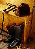 Equestrian Gear on a Bench
