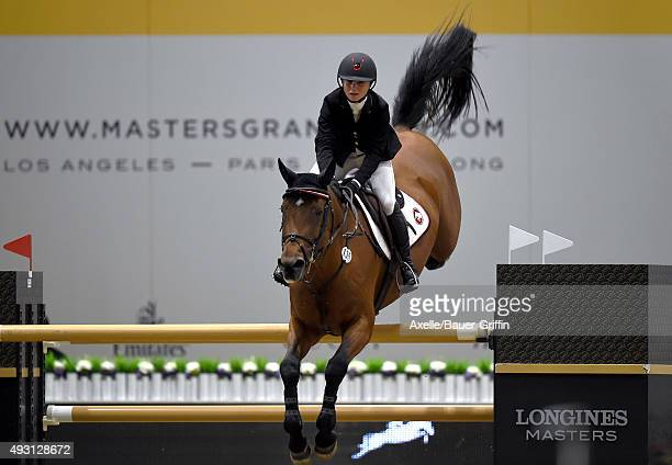 Equestrian Georgina Bloomberg performs at the 2nd Annual Longines Masters of Los Angeles at Los Angeles Convention Center on October 3 2015 in Los...