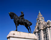 Equestrian Portrait of Edward VII in Front of Royal Liver Building