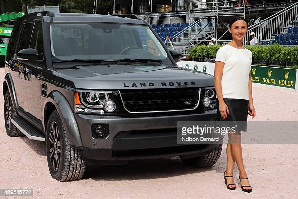Equestrian Rider Georgina Bloomberg and the 2015 Land Rover LR4 at the Rolex Cental Park Horse Show press conference where Land Rover is the official...