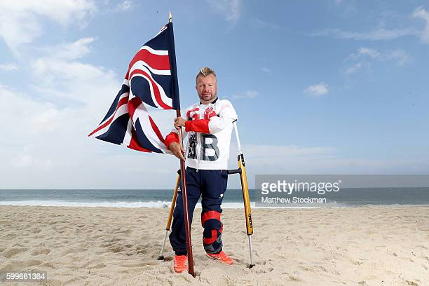 Equestrian rider Lee Pearson of Great Britain poses for a photo call on the beach after being chosen as Great Britain's flagbearer for the Paralympic...