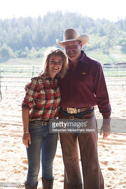 Equestrian rider Sophie Tapie is photographed with horse trainer Pat Parelli on his ranch for Paris Match on June 14 2013 in Pagosa Springs Colorado