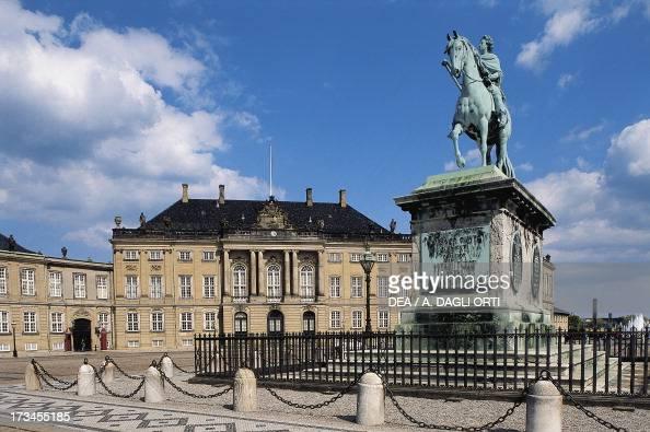 Equestrian statue of Frederick V Amalienborg Palace in the background Danish royal residence Copenhagen Denmark