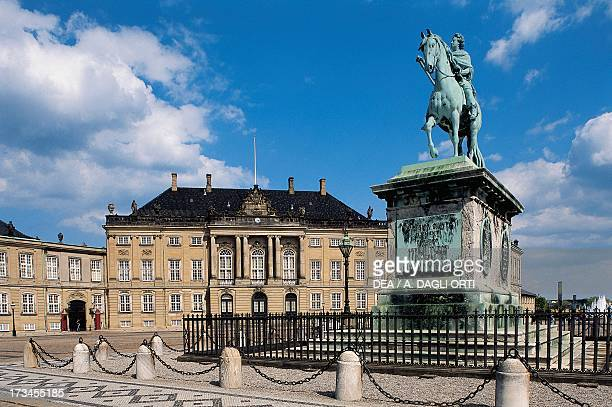 Equestrian statue of Frederick V Amalienborg Palace in the background Danish royal residence Copenhagen Denmark