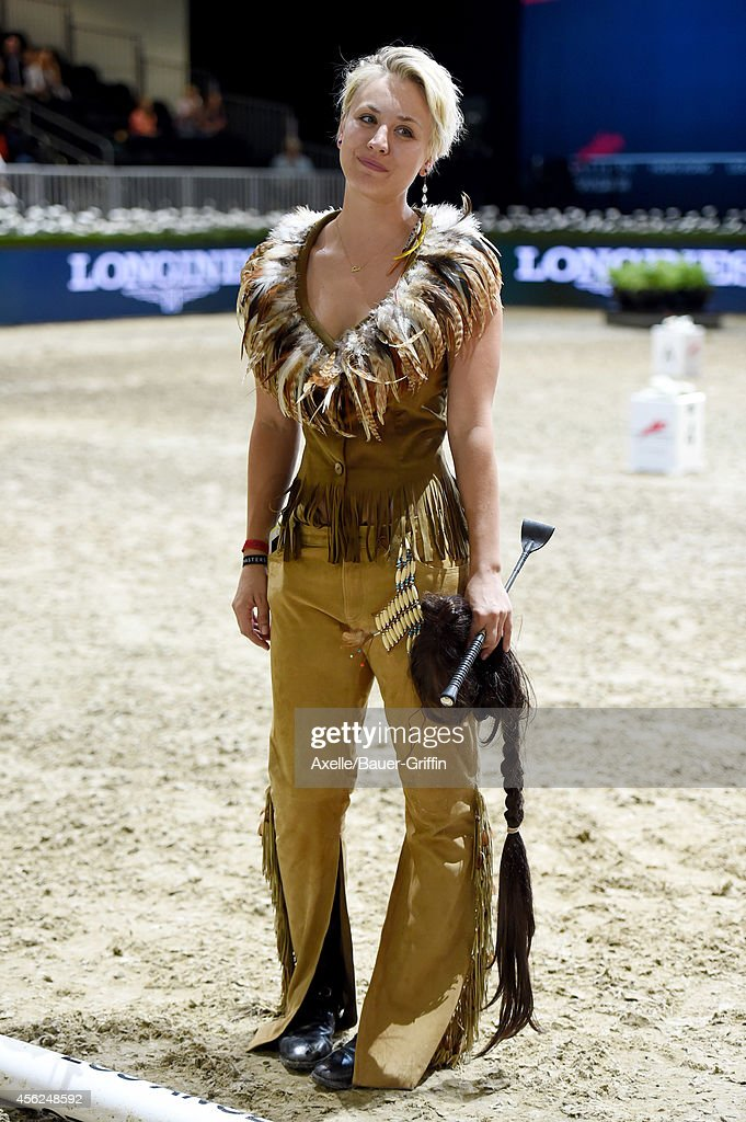 Equestrian/actress Kaley CuocoSweeting performs at the Longines Los Angeles Masters Charity ProAM at Los Angeles Convention Center on September 27...