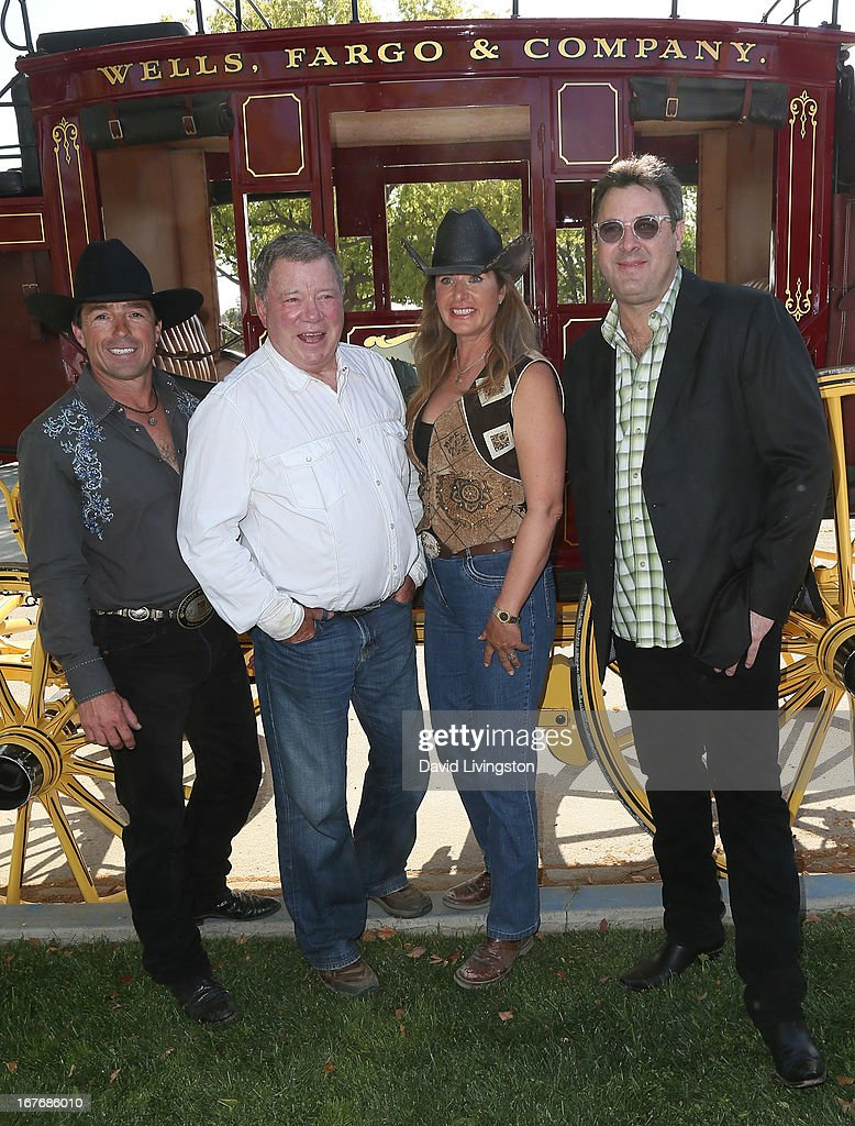 Equine entertainer Tommie Turvey, actor William Shatner, wife Elizabeth Shatner and recording artist Vince Gill attend the 23rd Annual William Shatner Priceline Hollywood Charity Horse Show at the Los Angeles Equestrian Center on April 27, 2013 in Los Angeles, California.