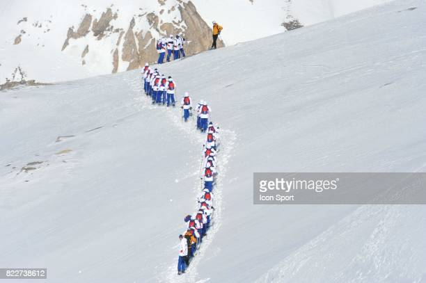 Equipe de France sur le Glacier Stage de l'Equipe de France avant la Coupe du Monde 2010 Tignes France