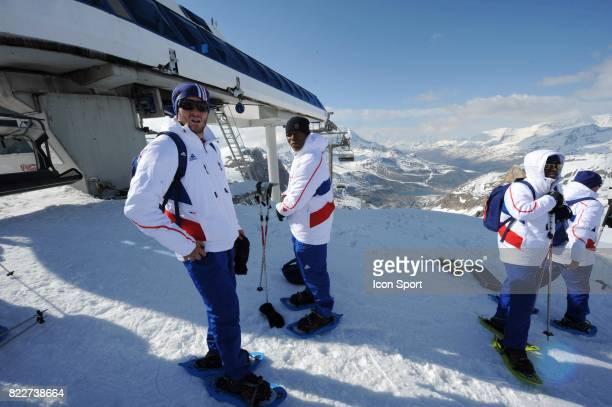 Equipe de France sur le Glacier Andre Pierre GIGNAC / Djibril CISSE Stage de l'Equipe de France avant la Coupe du Monde 2010 Tignes France