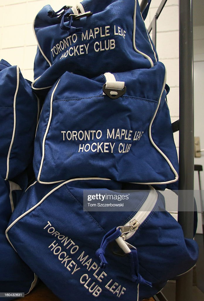 Equipment bags of the Toronto Maple Leafs sit on a cart outside their dressing room before their NHL game against the Buffalo Sabres at First Niagara Center on January 29, 2013 in Buffalo, New York.