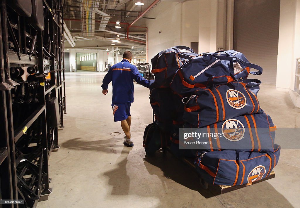 Equipment belonging to the New York Islanders is packed up and headed back to the Nassau Coliseum following the team's first ever practice at the Barclays Center on September 12, 2013 in Brooklyn borough of New York City.