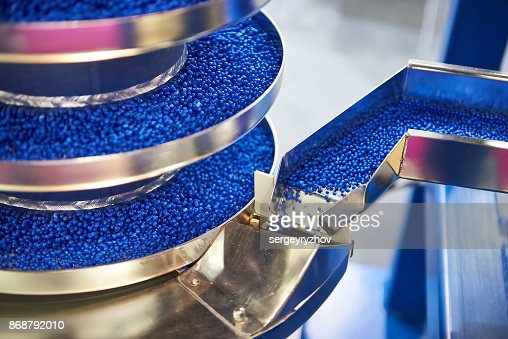 Equipment for working with small plastic granules for chemical industry : Stock Photo