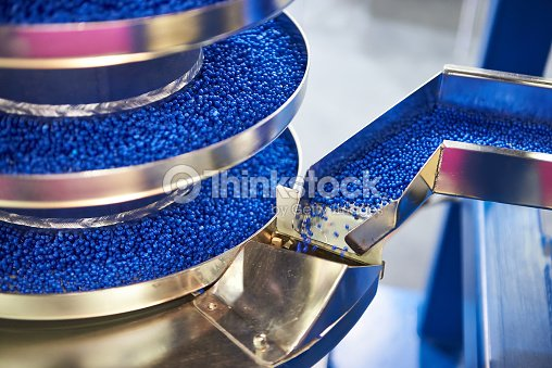 Equipment for working with small plastic granules for chemical industry : Foto stock