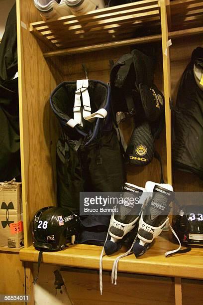 Equipment is shown in the Primus Worldstars locker room on December 9 2004 at the Riga Sporta Pils in Riga Latvia