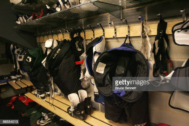 Equipment is shown in the Primus Worldstars locker room on December 19 2004 at the Cloetta Center in Linkoping Sweden