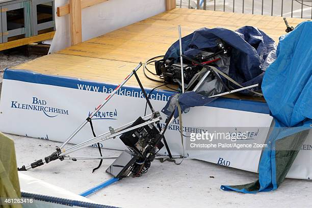 Equipment lies on the ground after a windstorm which forced the Audi FIS Alpine Ski World Cup Women's Downhill to be cancelled on January 10 2015 in...