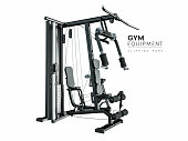 GYM equipment. clipping part in the file for your convenience. 3D rendering and illustration.