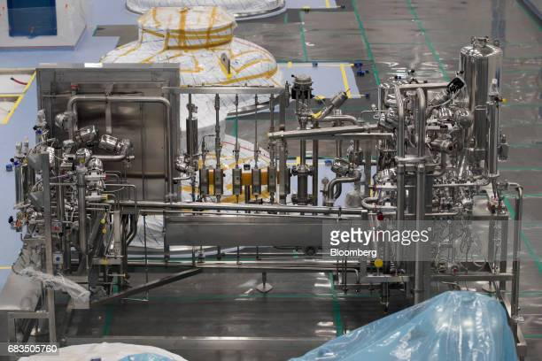 Equipment stands in a bioreactor hall at the under construction Plant 3 inside the Samsung BioLogics Co headquarters and production facilities in...
