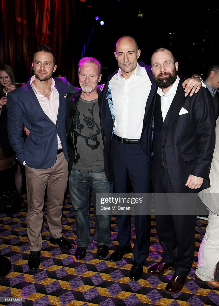 Eran Creevy, Peter Mullan, Mark Strong and Johnny Harris attend an after party following the 'Welcome To The Punch' UK Premiere at the Hippodrome Casino on March 5, 2013 in London, England.