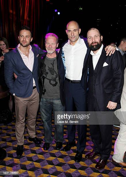 Eran Creevy Peter Mullan Mark Strong and Johnny Harris attend an after party following the 'Welcome To The Punch' UK Premiere at the Hippodrome...