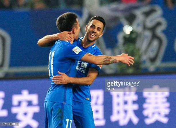 Eran Zahavi of Guangzhou RF celebrates after scoring a goal during the 6th round match of China Super League between Jiangsu Suning and Guangzhou RF...