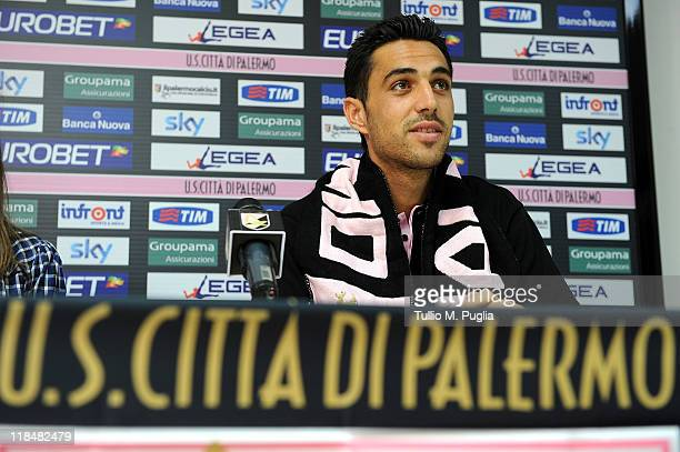 Eran Zahavi of Palermo answers questions during his presentation as new player of Palermo before a Palermo training session at Sport Well Center on...