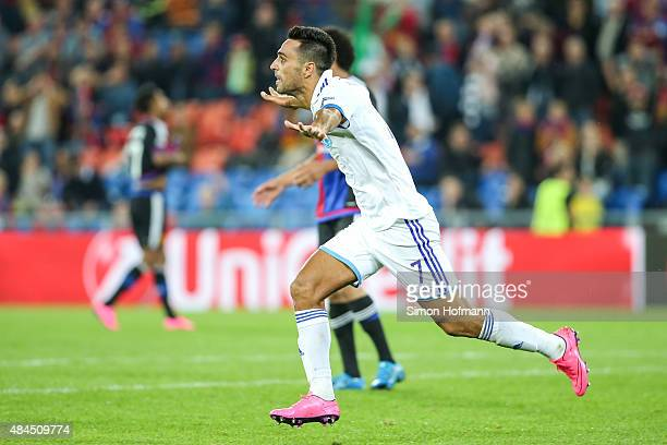 Eran Zahavi of Tel Aviv celebrates his team's second goal during the UEFA Champions League qualifying round play off first leg match between FC Basel...