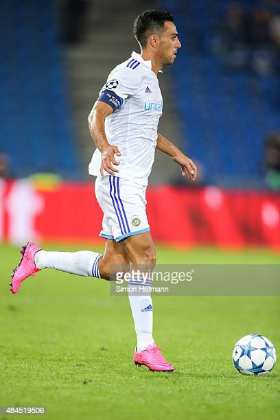 Eran Zahavi of Tel Aviv controls the ball during the UEFA Champions League qualifying round play off first leg match between FC Basel and Maccabi Tel...