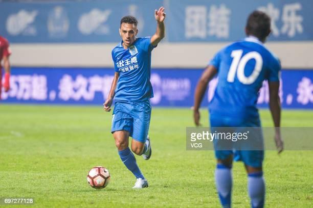 Eran Zehavi of Guangzhou Fuli controls the ball during the 13th round match of 2017 Chinese Football Association Super League between Guangzhou Fuli...