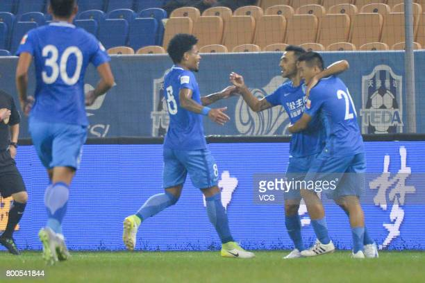 Eran Zehavi of Guangzhou RF celebrates a point with teammates during 2017 Chinese Super League 14th round match between Tianjin Teda and Guangzhou RF...