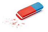 close up of an eraser on white background with clipping pathclose up of an eraser on white background with clipping path