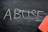 erasing abuse, hand written word on blackboard being erased concept