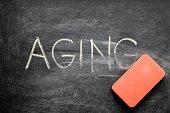 erasing aging, hand written word on blackboard being erased concept