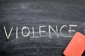 erasing violence, hand written word on blackboard being erased concept