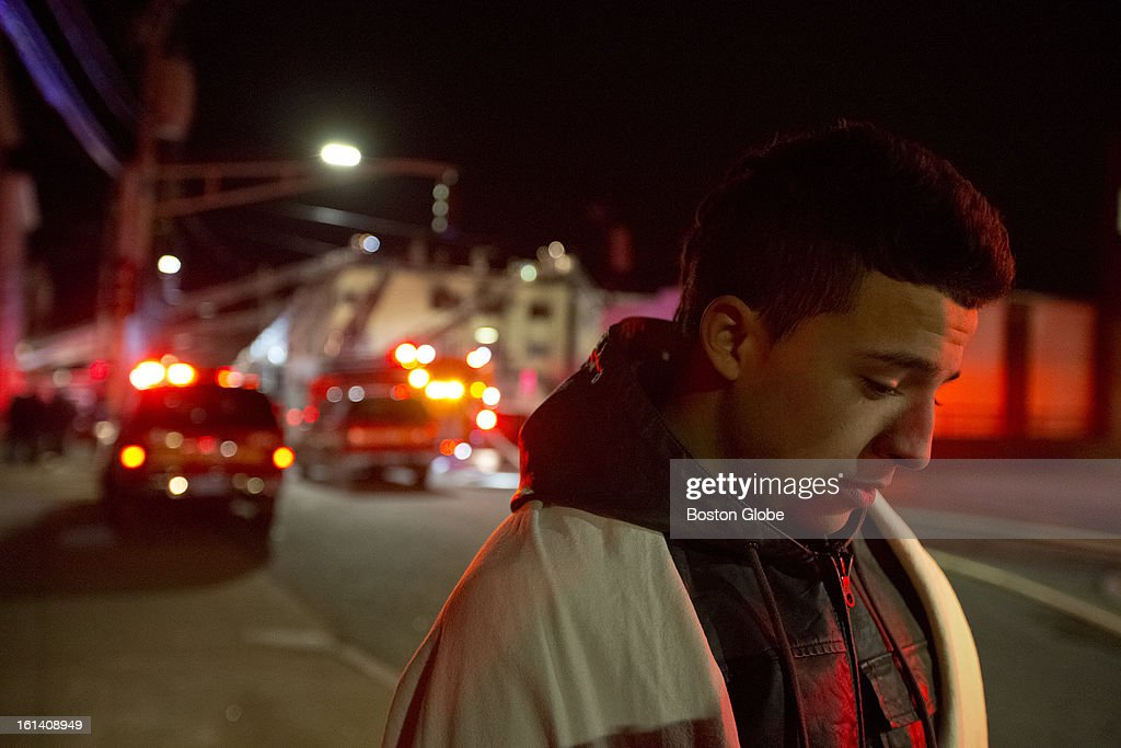 Erasmo Gomez, 17, a resident on the second floor ran out of the building to the fire station (40 yards away) to alert the firefighters in the multi-alarm fire on Sumner Street on Monday, Feb. 4, 2013. Gomez said, 'I was so scared when i looked back at all i could do is pray.'