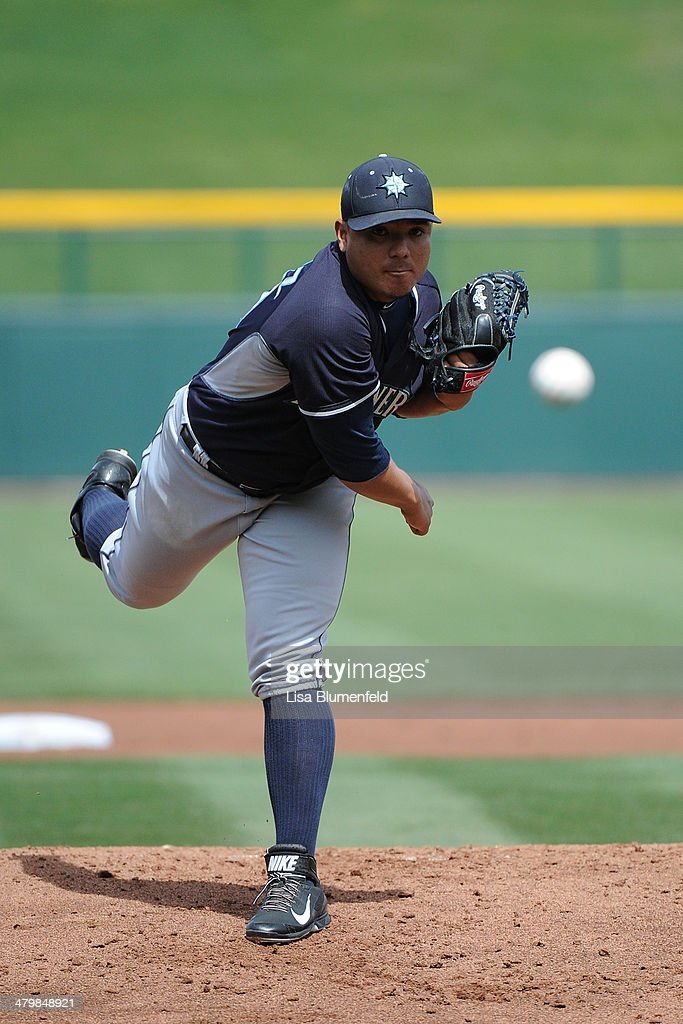 <a gi-track='captionPersonalityLinkClicked' href=/galleries/search?phrase=Erasmo+Ramirez&family=editorial&specificpeople=234687 ng-click='$event.stopPropagation()'>Erasmo Ramirez</a> #50 of the Seattle Mariners pitches against the Chicago Cubs at Cubs Park on March 20, 2014 in Mesa, Arizona.