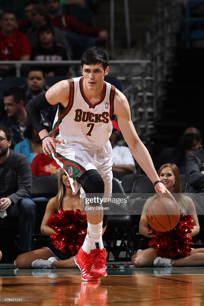 Erasn Ilyasova #7 of the Milwaukee Bucks dribbles the ball against the Orlando Magic on March 10, 2014 at the BMO Harris Bradley Center in Milwaukee, Wisconsin.