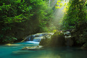 Relaxing view of Erawan waterfall, Erawan National Park, Thailand