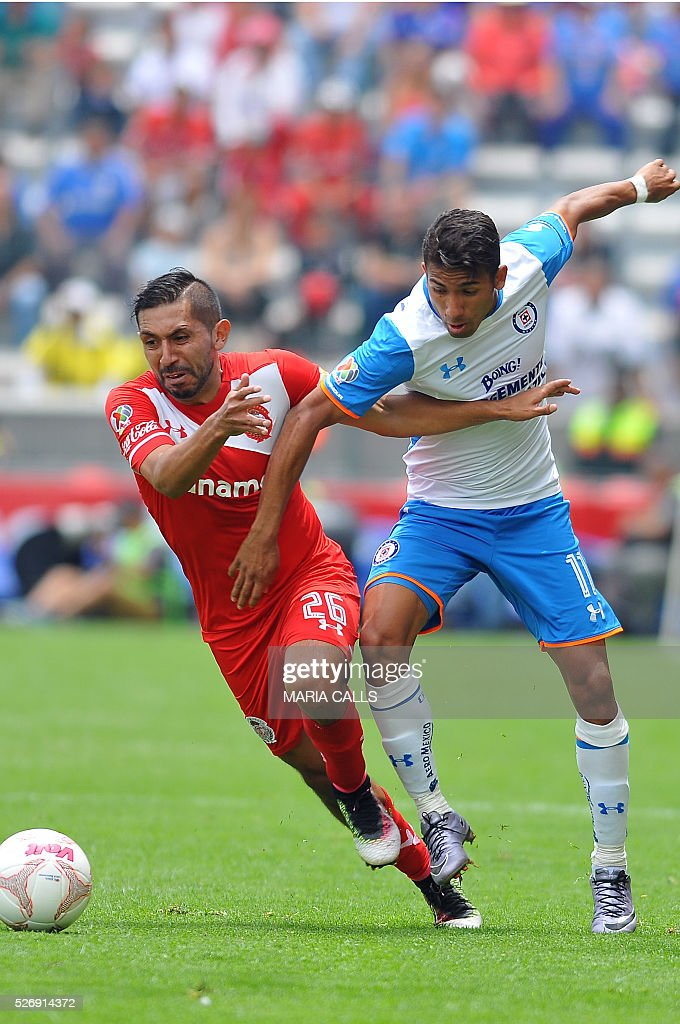 Erbin Trejo (L) of Toluca vies for the ball with Joao Rojas (R) of Cruz Azul during their Mexican Clausura 2016 football tournament match at Nemesio Diez stadium on May 1, 2016, in Toluca, Mexico. / AFP / MARIA