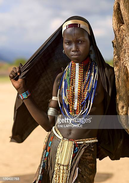 Erbore tribe woman in Ethiopia on October 26 2008 This tribe is not far from Kenya border The women are beautiful they all wear black veils like...