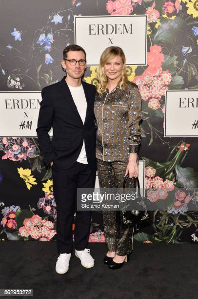 Erdem Moralioglu and Kirsten Dunst at HM x ERDEM Runway Show Party at The Ebell Club of Los Angeles on October 18 2017 in Los Angeles California