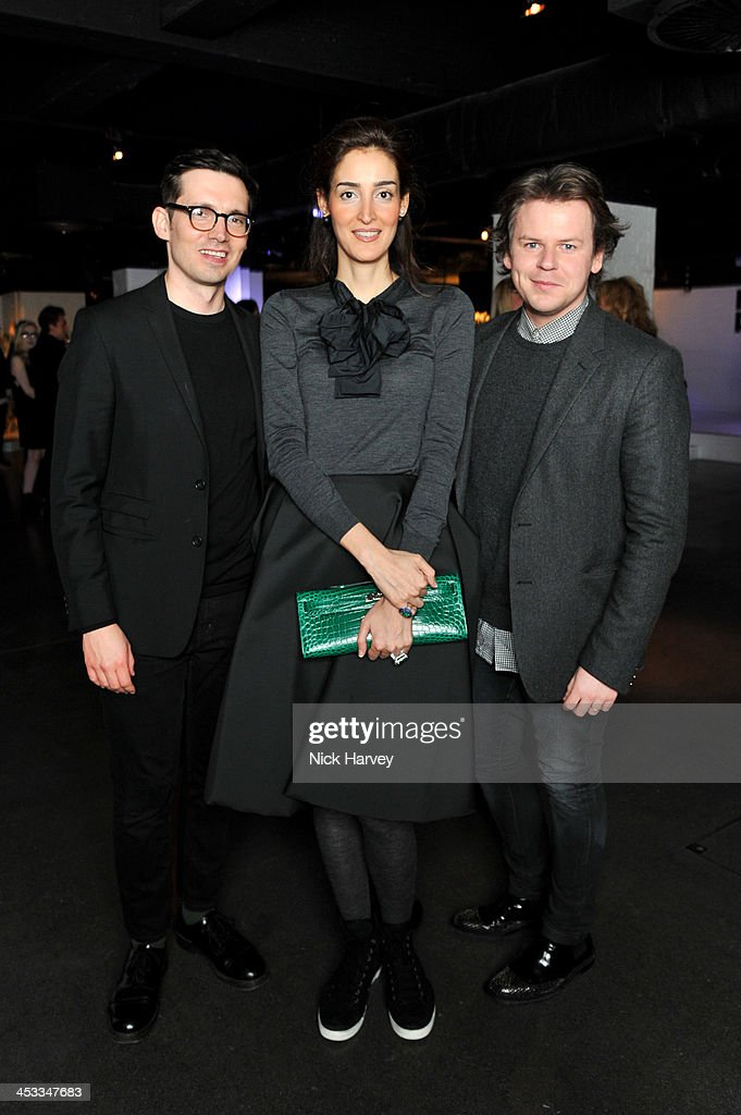 Erdem Moralioglu, Yasmin Ghandehari and Christopher Kane attend the Fashion Fringe 10 Year Anniversary Party at the London Film Museum on December 3, 2013 in London, England.