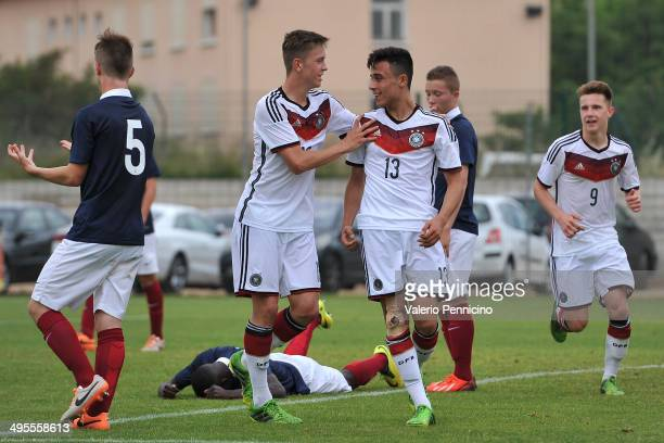 Erdinc Karakas of Germany celebrates a goal with teammates during the International Friendly match between U16 France and U16 Germany at Stade Perruc...