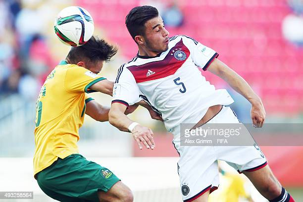 Erdinc Karakas of Germany jumps for a header with Joe Caletti of Australia during the FIFA U17 World Cup Chile 2015 Group C match between Australia...