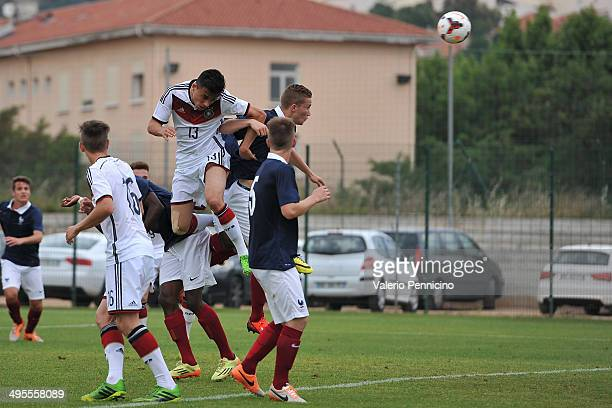 Erdinc Karakas of Germany scores a goal during the International Friendly match between U16 France and U16 Germany at Stade Perruc on June 4 2014 in...