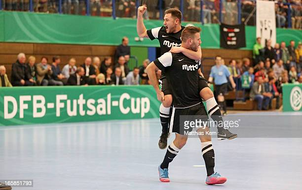 Erdinc Oruen of Hamburg jubilates after scoring a goal during the DFB Futsal Cup final match between Hamburg Panthers and UFC Muenster at Sporthalle...