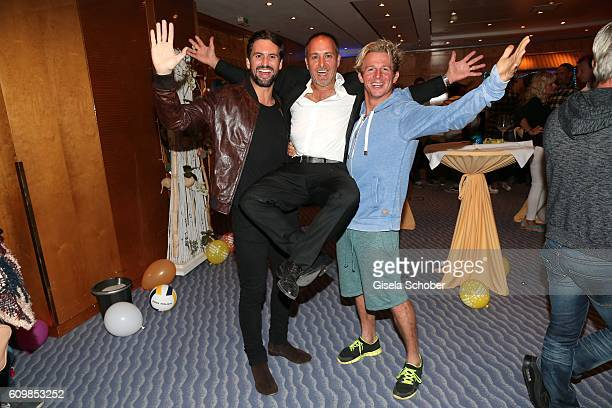 Erdogan Atalay and Daniel Roesner 'Alarm fuer Cobra 11' and Tom Beck during the surprise party for Erdogan Atalay's 50th birthday at Hotel Arkona on...