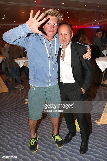 Erdogan Atalay and Daniel Roesner 'Alarm fuer Cobra 11' during the surprise party for Erdogan Atalay's 50th birthday at Hotel Arkona on September 22...